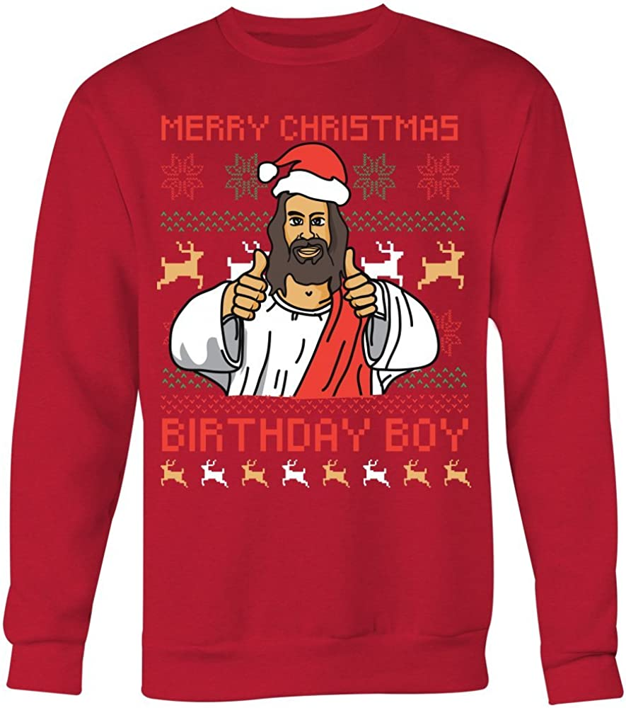 Funny Jesus christmas sweater Merry Christmas Birthday Boy Sweatshirt