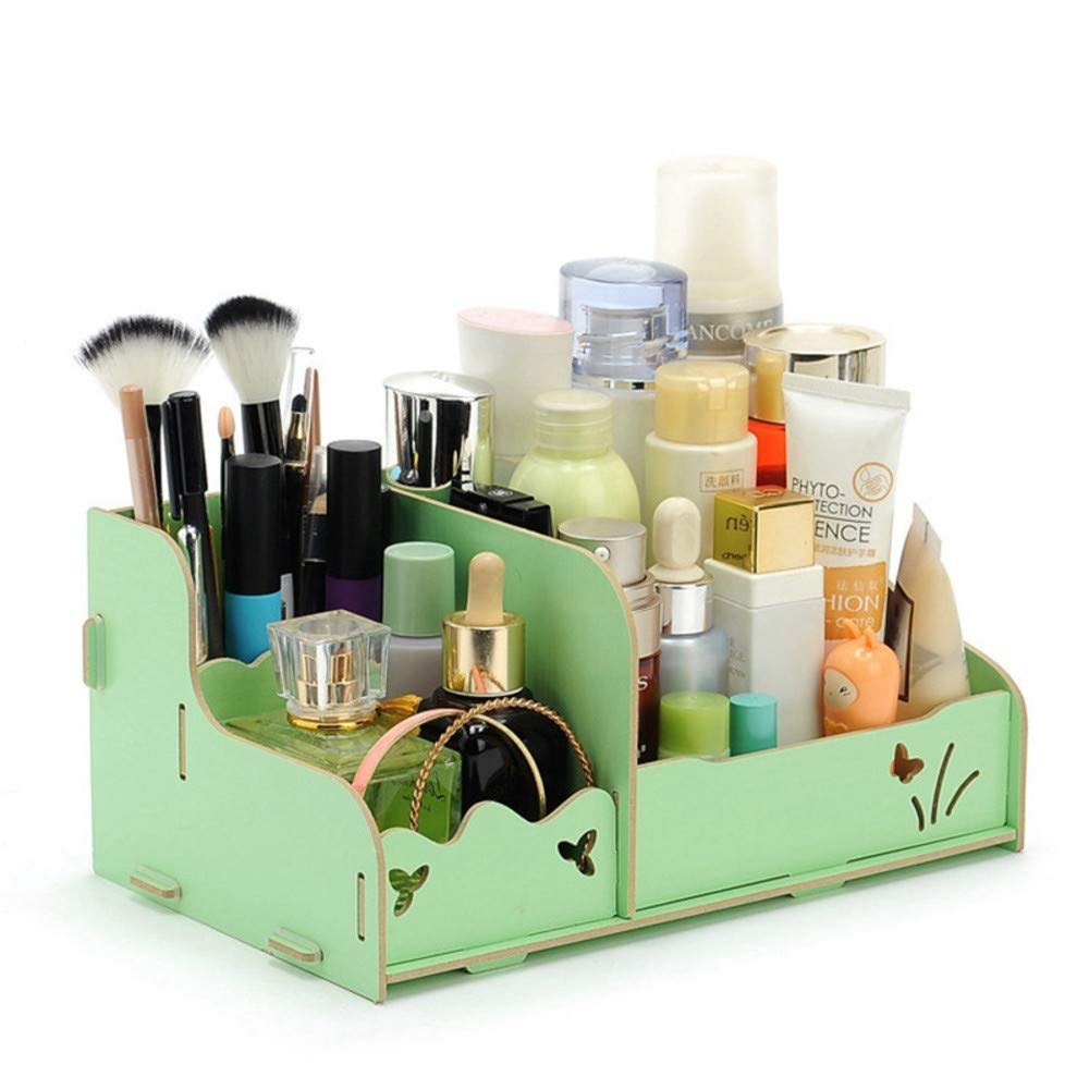 TSG GLOBAL Wooden Storage Box Jewelry Container Makeup Organizer Case Handmade DIY Assembly Cosmetic Organizer Wood Box for Office 25 (Green)