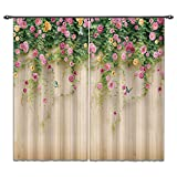 LB Spring Flower 3D Window Curtains for Bedroom Living Room,Rosemary Floral on Wood Wall in Garden Plant Teen Kids Room Darkening Blackout Curtains Drapes 2 Panels,42 x 84 Inches For Sale