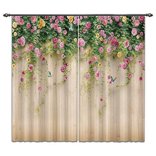 - LB Spring Flower 3D Window Curtains for Bedroom Living Room,Rosemary Floral on Wood Wall in Garden Plant Teen Kids Room Darkening Blackout Curtains Drapes 2 Panels,52 x 84 Inches