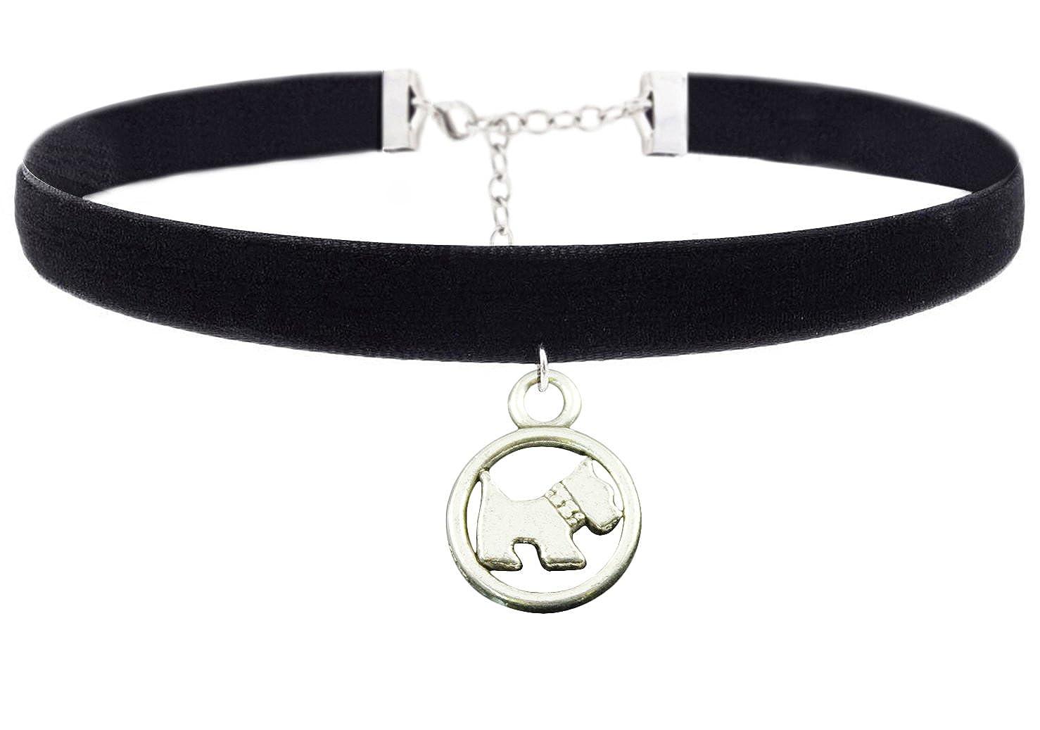 Colgante encantador del perro Niñas Chicas Negro Velvet Vintage Chokers Collar para Mujer Cozylife YS119B