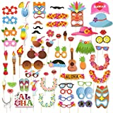 60-Piece Set of Photo Booth Props - Luau Party Supplies, Selfie Props, Hawaiian Party Favors for Cocktail Parties, Tiki Parties and Hawaiian-Themed Events