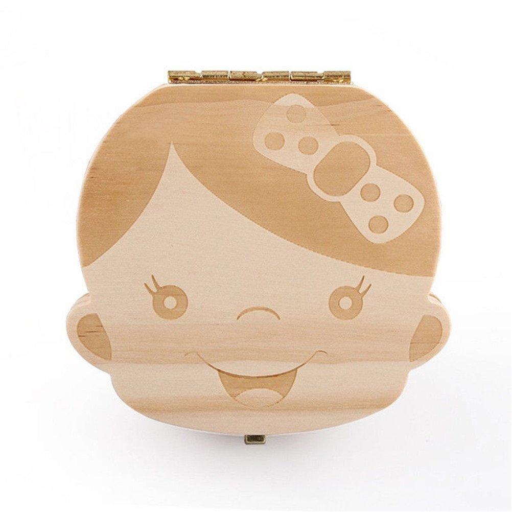 Drawihi Holz Baby Milchzähne Aufbewahrungsbox Milchzähne Box für Kinder Mädchen prinzessin Zahnbox Zahndose Milchzahndose Zahndöschen Mädchen (Englische Version)
