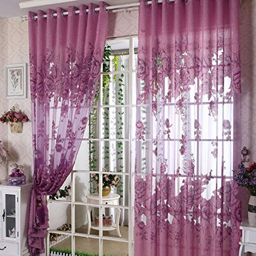 Purple Color New European Top-grade Peony Pattern Half Shading Burnt-out Curtain for Door Window Room Decoration Window Curtains Decor 1 order