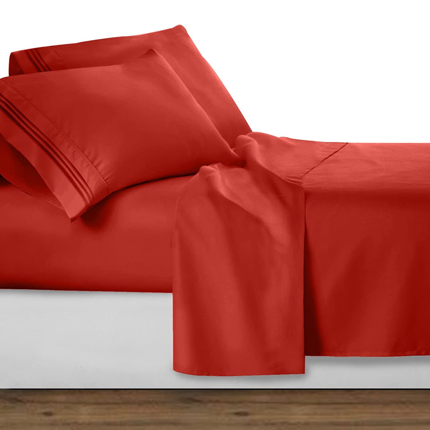 Clara Clark Premier 1800 Collection Deluxe Microfiber 3-Line Bed Sheet Set, King, Orange Rust