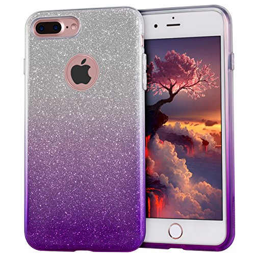 MATEPROX iPhone 7 Plus Case Shiny Glitter CASE [Bling Crystal Clear][Extremely Sparkly], Slim Premium 3 Layer Hybrid, Protective Case for iPhone 7 Plus 5.5 Inch - Gradient Purple