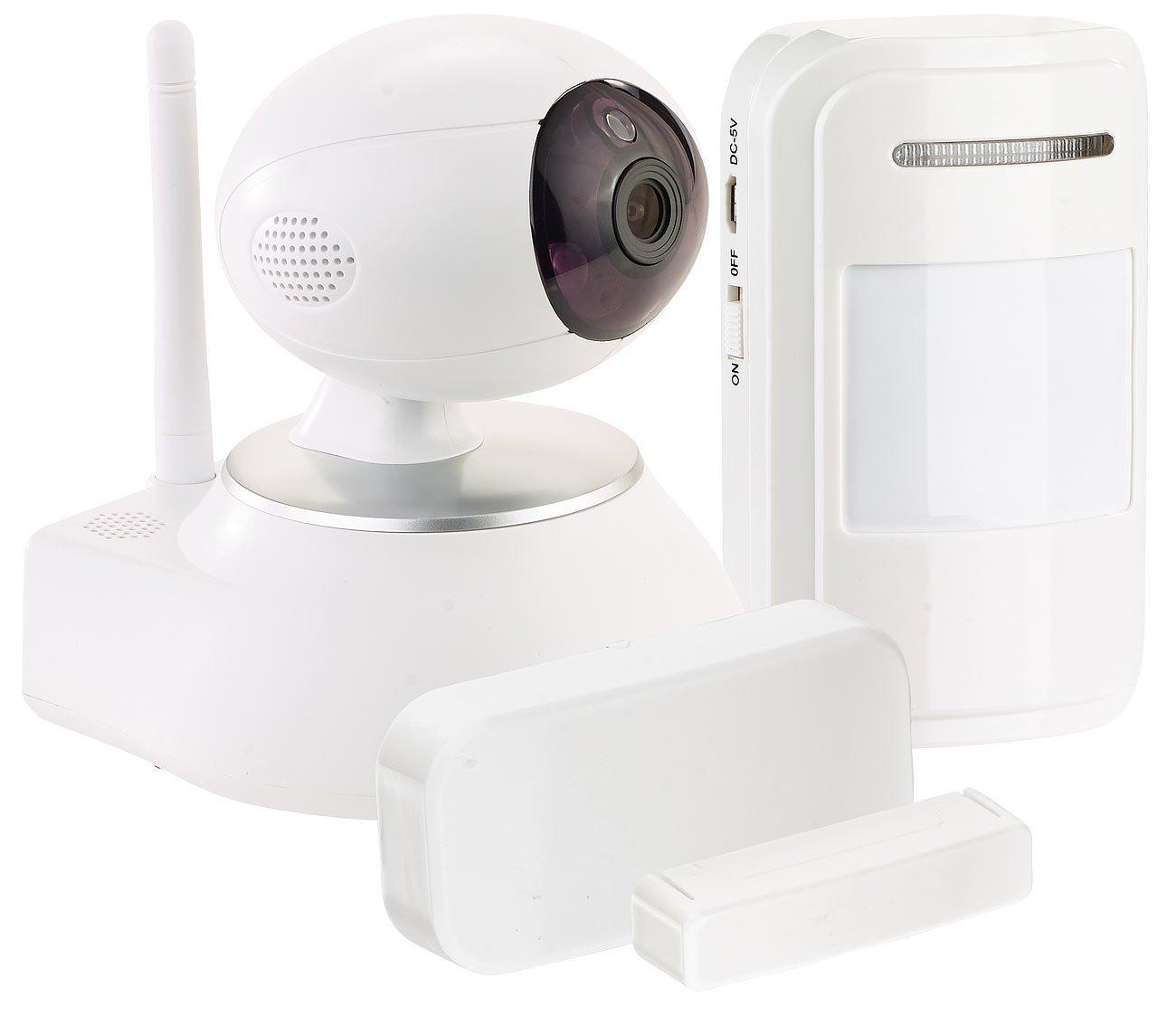 VisorTech HD-IP-Kamera mit Nachtsicht, 433-MHz-Funk, PIR- und Tür-Sensor