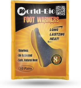 WORLD-BIO Disposable Insole Foot Warmers 5/10/16/20/40 Pairs Value Pack - Provide 12 Plus Hour Heating, Long Lasting Safe Natural Odorless Air Activated Warm Pack for Toe/Hand/Body
