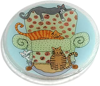 product image for Peggy Karr Handcrafted Art Glass Sofa Cats Plate, Round, 8-Inch