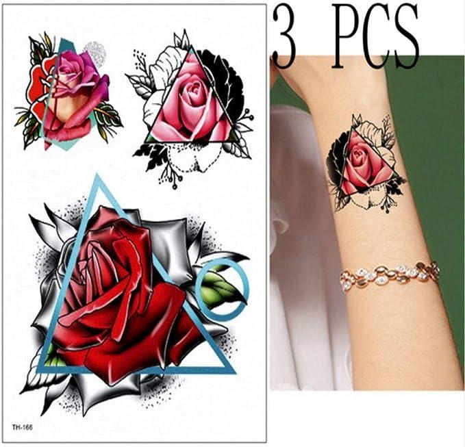 Handaxian 3pcs Tatuaje Mujer Impermeable Flor Tatuaje Loto peonía ...