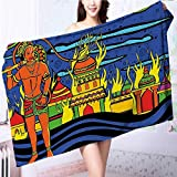 ultra soft and absorbent bath towel Spiritual Faith Prince Tribal Oriental Bohemian Orange Blue for Maximum Softness L55.1 x W27.5 INCH