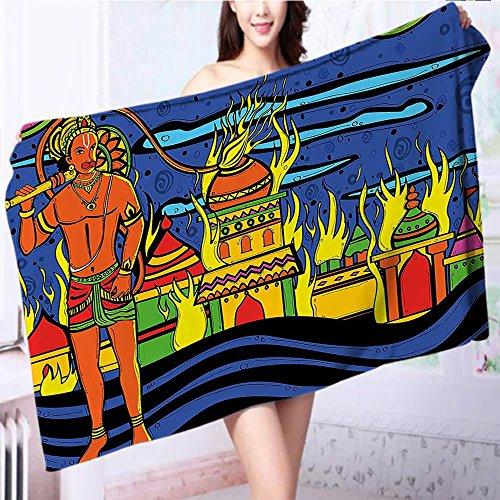 ultra soft and absorbent bath towel Spiritual Faith Prince Tribal Oriental Bohemian Orange Blue for Maximum Softness L55.1 x W27.5 INCH by Miki Da