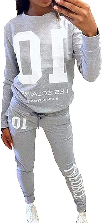 Donna Tuta Sportiva Abbigliamento Sportivo Morbida Comoda Pullover a Maniche Lunghe Pantaloni 2 Pezzi Vestiti Set Felpa Sportiva Pantaloni Fitness Yoga Tute