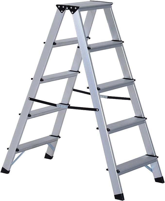 HOMCOM Escalera de Tijera Aluminio Plegable Escalera Doméstica de Mano Ambos Lados 5 Peldaños Carga 150kg: Amazon.es: Bricolaje y herramientas