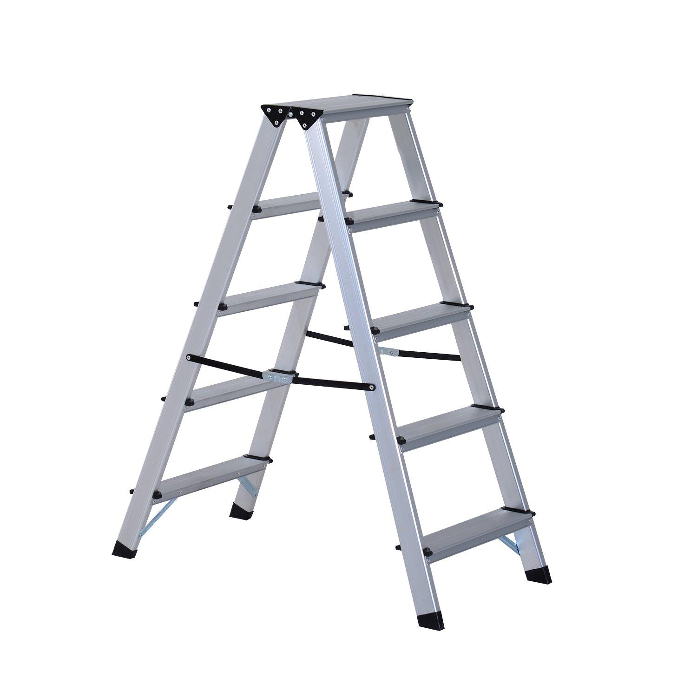 HOMCOM Aluminium Double Sided Step Ladder Folding A-type Household Stepper (3 Steps) Sold by MHSTAR