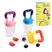 Biubee 3 PCS Baby Food Feeder, Silicone Fresh Fruit Feeder, Feeder Teether Food Mesh for Infant & Toddlers Feeding and Teething