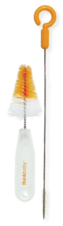thinkbaby Straw and Nipple Brush Set, Orange Straw Nipple Brush