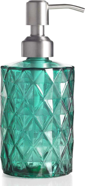 Ekirlin - Dispensador de jabón de cristal para cocina y baño - Botella de cristal transparente con bomba de acero inoxidable para lavavajillas, aceite esencial, loción de champú (verde)