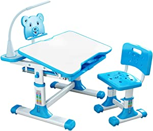S SMAUTOP Children Desk and Chair Set - Height Adjustable Desk with Tilt Desktop for Painting - School and Home Kids Study Table w/Bookstand,LED Light,Hook and Storage Drawer for Boys Girls (Blue)
