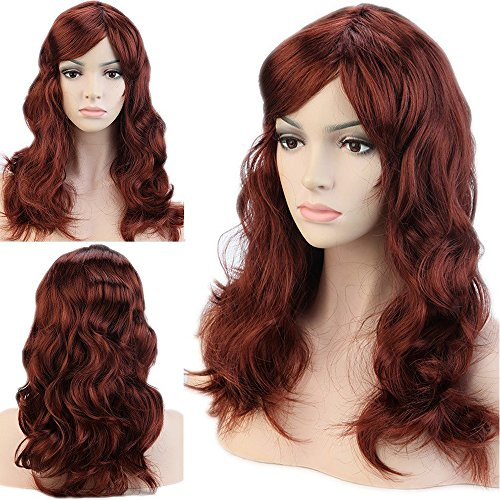 (Cosplay Wigs Synthetic Long Curly Straight Full Costume Wig with Bangs and Cap Halloween Wigs (19