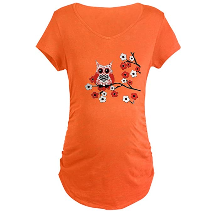 a5e894dd4 CafePress - Red & White Sugar Skull Owl I Maternity Dark T-Shi - Cotton  Maternity T-shirt, Side Ruched Scoop Neck: Amazon.ca: Clothing & Accessories
