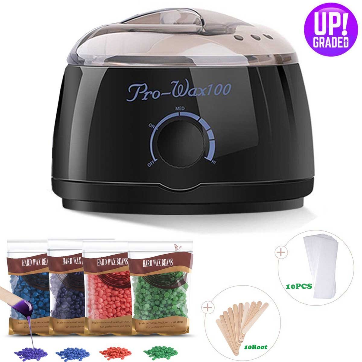 Wax Warmer Professional Electric At Home Waxing Kit for Hair Removal with 4 Scents Hard Wax Beans and 10 Wax Applicator Sticks