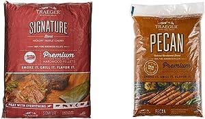 Traeger Grills PEL331 Signature Blend 100% All-Natural Hardwood Pellets (20 lb. Bag) & Grills PEL314 Pecan 100% All-Natural Hardwood Pellets Grill, Smoke, Bake, Roast, Braise and BBQ, 20 lb. Bag