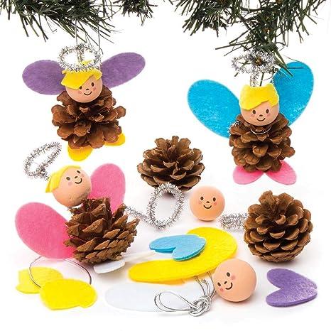 Lavoretti Di Natale Con Le Pigne.Baker Ross Kit Per Decorazioni Con Pigne A Tema Angeli