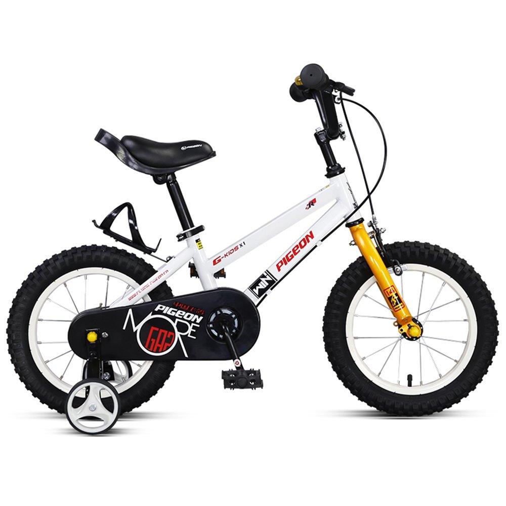 14/16インチ高炭素鋼フレームバイク、2-6歳のベビーベビーペダルベビーカー、子供用自転車 ( 色 : 白 , サイズ さいず : 100*57cm ) B078KVPXFZ白 100*57cm