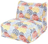 Majestic Home Goods Blooms Bean Bag Chair Lounger, Citrus