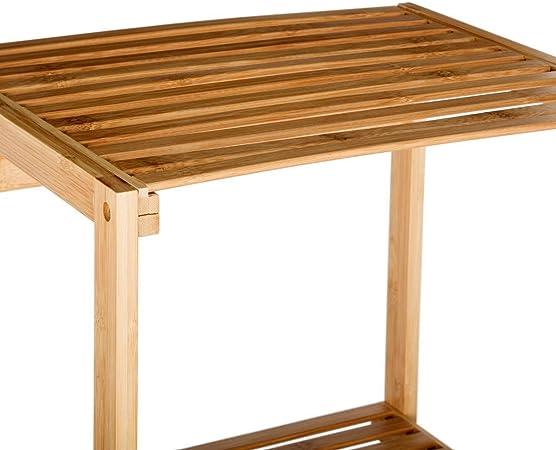 Estantería de almacenamiento 2 niveles + 1 Cesto para ropa de BAMBU - Estilo Exótico - Color MADERA: Amazon.es: Hogar