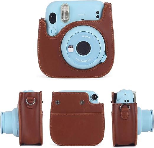 Cpano PU Funda de Cuero para c/ámara para Fujifilm Instax Mini 11 C/ámara instant/ánea con Correa y Bolsillo Ajustables. Azul