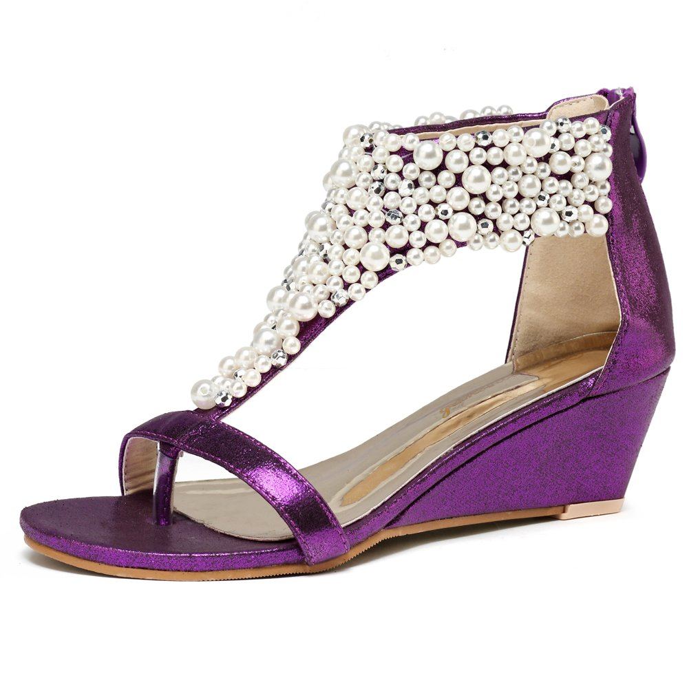Women's Pearl Encrusted Open Toe Purple Strap Back Zip Wedge Sandals - DeluxeAdultCostumes.com