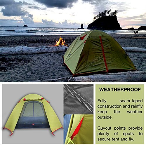 Weanas Professional Backpacking Tent 2 3 4 Person 3 Season Weatherproof Double Layer Large Space Aluminum Rod for Outdoor Family Camping Hunting Hiking Adventure Travel (Green, 1-2 Person)