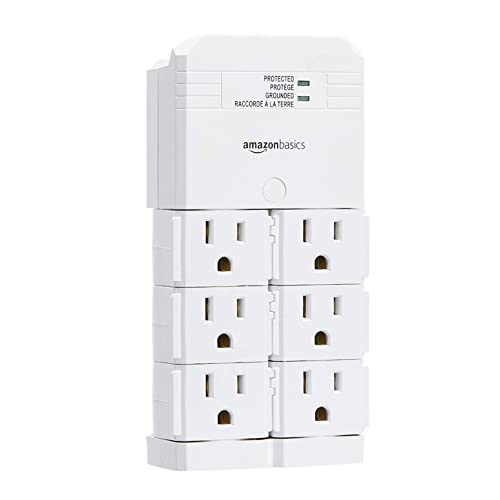 AmazonBasics Rotating 6-Outlet Surge Protector Wall Mount - 1080 Joules