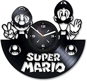Super Mario Luigi Vinyl Record Wall Clock. Decor for Bedroom, Living Room, Kids Room. Gift for Children, Men or Women. Christmas, Birthday, Holiday, Housewarming Present.
