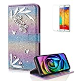Funyye 3D Bling Flower Diamond Wallet Leather Case for Samsung Galaxy A8 2018,Rainbow Purple Premium Glitter Crystal Shiny Rhinestone PU Leather Protective Cover Case,Multifunctional Magnetic Flip with Stand Credit Card Holder Slots Case for Samsung Galaxy A8 2018 + 1 x Free Screen Protector