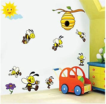 Amazon Ffdidy Cartoon Bee 3D Wall Stickers For Kids Rooms Decoration Lovely Honey Viny Art Decals Murals DIY Nursery Home Decor Baby