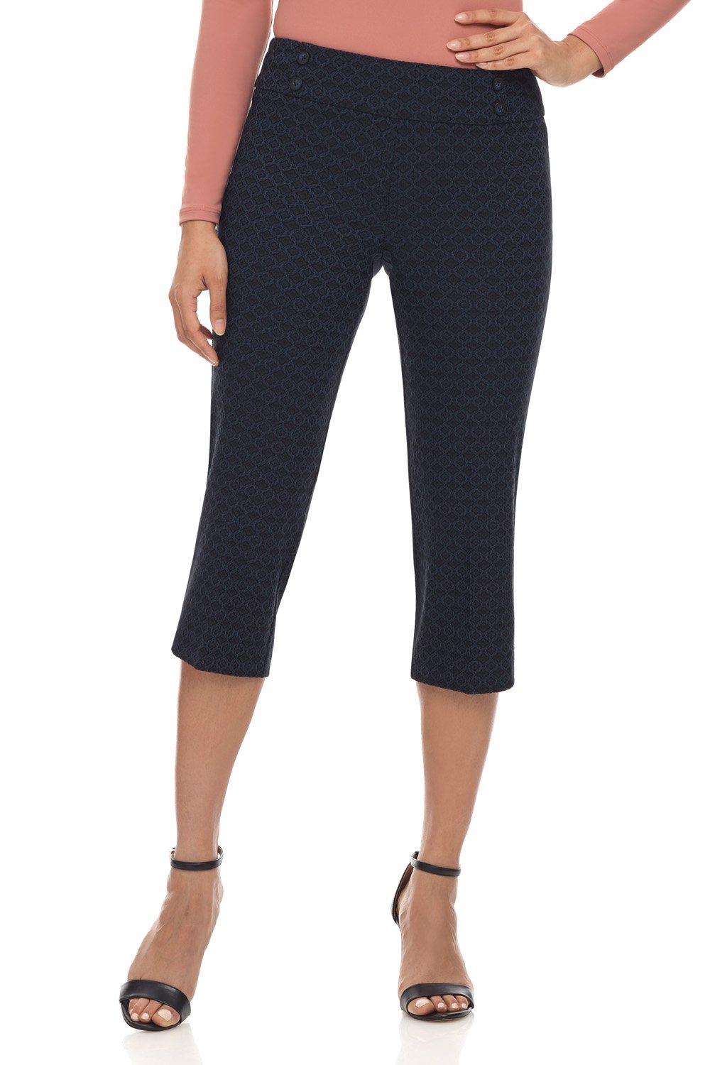 Rekucci Women's Ease in to Comfort Fit Capri with Button Detail (10,Navy Floral)