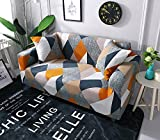 YJBear 1 PC Form Fit Sofa Covers Polyester Spandex Stretch Slipcover Slip Resistant Furniture Protector for Chair Loveseat Sofa Protector Shield, Colorful Rhombus,57.09''-72.83''(Loveseat)