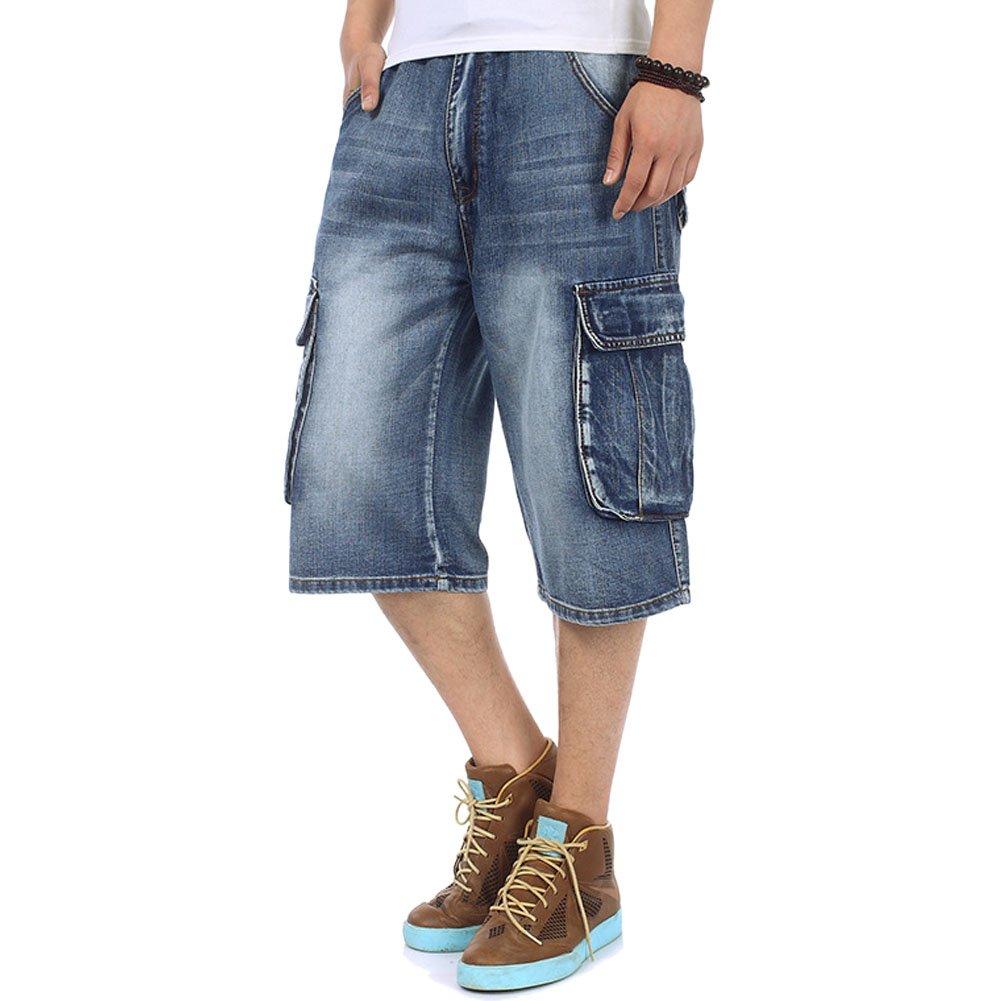 Crazy Men's Light Denim Cargo Short Vintage Jeans