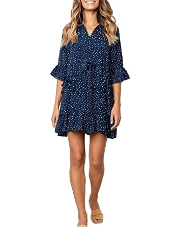 613f40a356d FASHIONMIA Women s Casual Ruffle Polka Dot T Shirt Dress V Neck 3 4 Sleeve  Swing Short Dresses