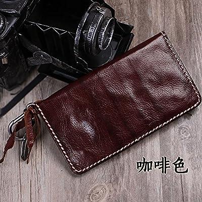 La literatura vintage Mori carteras artesanales, hombres y mujeres del cuero billetera de cuero grande alrededor de zip, marrón