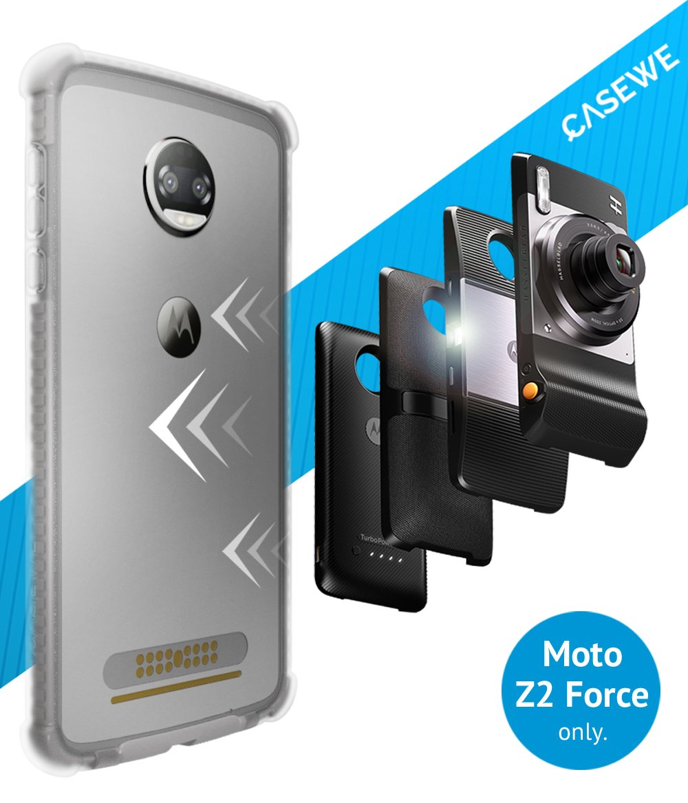 CaseWe - Motorola Moto Z2 Force Protective Bumper Case Cover/Compatible With Moto Mods - Clear & Matte Gray by Casewe
