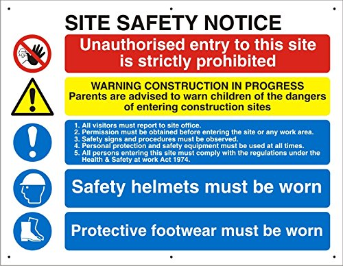 (Seco Site Safety Notice Sign, 800mm x 600mm - 4mm Fluted)