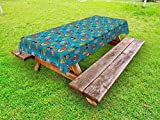 Lunarable Raccoon Outdoor Tablecloth, Cute Funny Animal Faces Owl Cat Deer Fox Polar Bear Seal and Red Panda Graphic, Decorative Washable Picnic Table Cloth, 58 X 84 inches, Multicolor