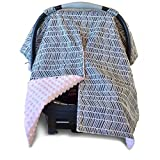 fleece infant car seat cover - 2 in 1 Carseat Canopy and Nursing Cover Up with Peekaboo Opening | Large Infant Car Seat Canopy for Girl | Best Baby Shower Gift for Breastfeeding Moms | Grey Herringbone Pattern and Soft Pink Minky