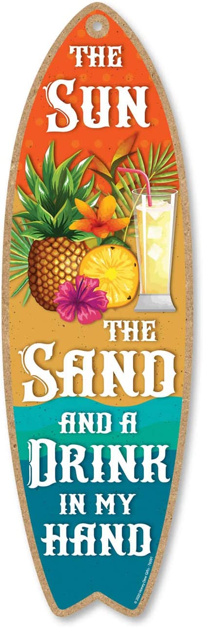 Honey Dew Gifts The Sun The Sand and a Drink in My Hand, 5 inch by 16 inch Surfboard, Wood Sign, Tiki Bar Decoration, Beach Themed Decor, Decorative Wall Sign, Home Decor