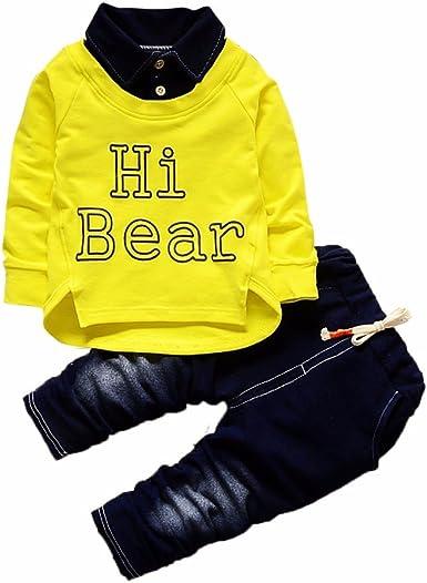 Covermason Conjunto de Bebé Niño, Hi Bear Impresión Largo Camisa y Casual Mezclilla Pantalones para 0-24M: Amazon.es: Ropa y accesorios