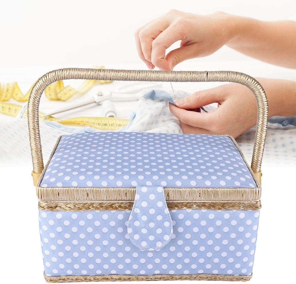 HERCHR Sewing Basket Household Fabric Thread Needle Sewing Storage Basket Flip Type